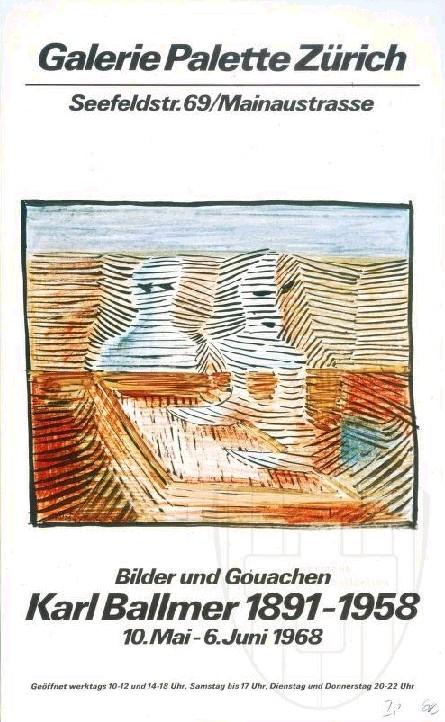 Plakat Karl Ballmer, Galerie Palette, Zürich 1968