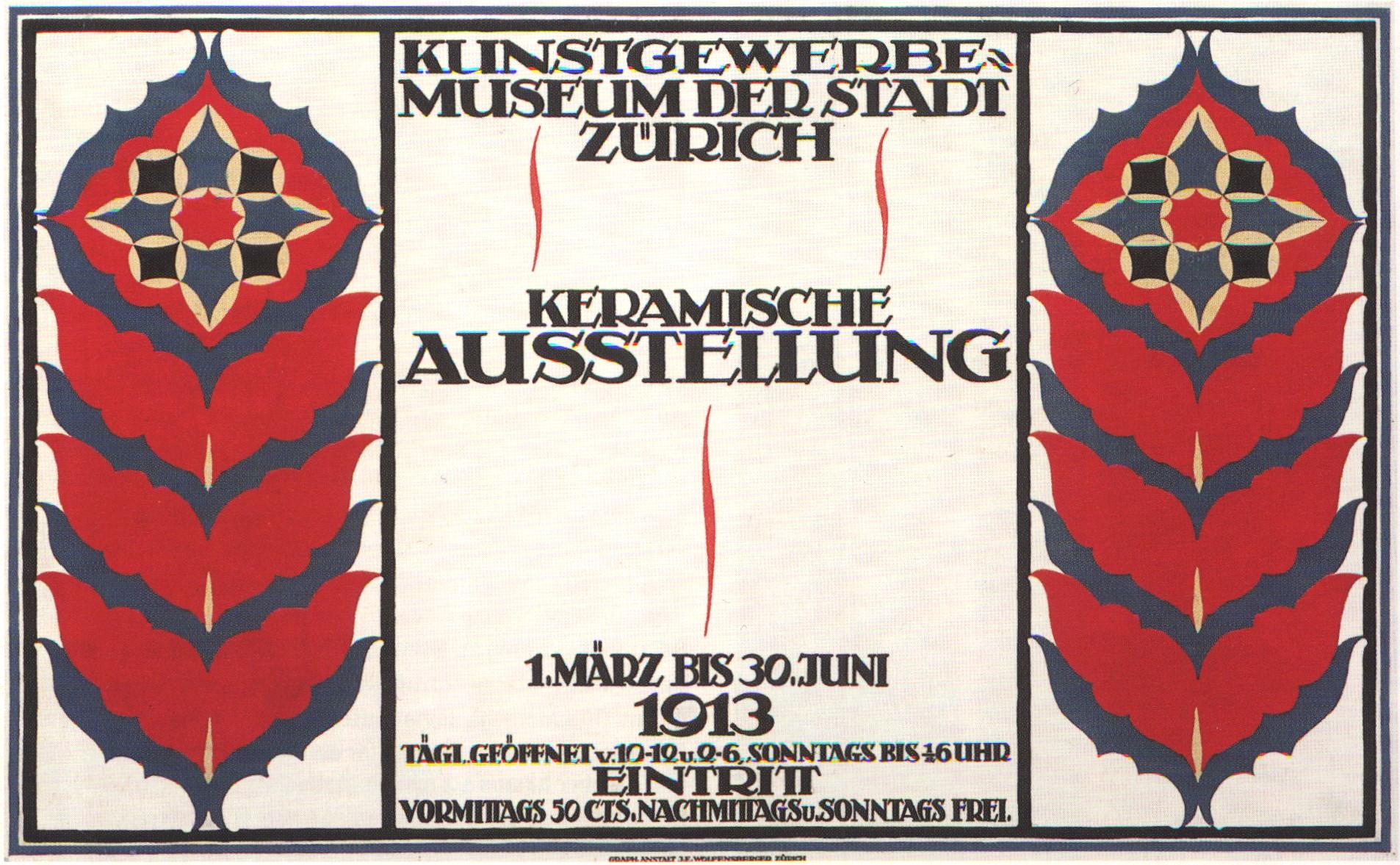 Plakat von Karl Ballmer, 1913: Keramische Ausstellung