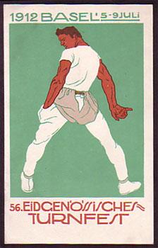 Postkarte von Karl Ballmer, 1912: Eidgenössisches Turnfest Basel