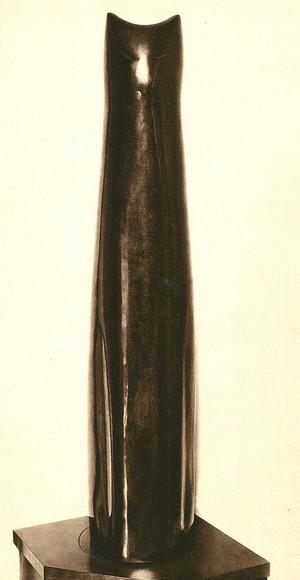 Katze, Holz, schwarzpoliert, 1,82 m hoch